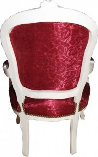 Casa Padrino Barock Salon Stuhl Bordeaux Rot Muster / Antik Weiss - Stühle Möbel - Vorschau 3