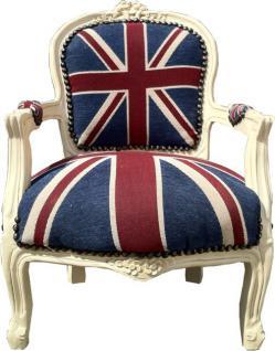 Casa Padrino Barock Kinder Stuhl Union Jack/Creme - Armlehnstuhl