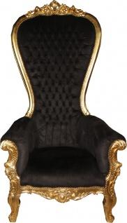 Casa Padrino Barock Thron Sessel Majestic Mod1 Schwarz/Gold - Riesensessel - Thron Stuhl