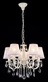 Casa Padrino Barock Decken Kristall Kronleuchter Elfenbein 53 x H 46 cm Antik Stil - Möbel Lüster Leuchter Hängeleuchte Hängelampe