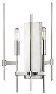 Casa Padrino Luxus Wandleuchte Silber 27, 9 x 12, 1 x H. 46, 9 cm - Elegante Wandlampe mit Messing Armen und Glasstäben - Luxus Kollektion