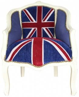 Casa Padrino Barock Damen Salon Sessel Union Jack / Creme - Antik Stil Sessel mit England Flagge