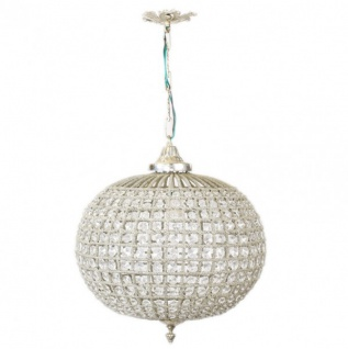 Casa Padrino Barock Decken Hängeleuchte 35 x H 65 cm - Glas Leuchte / Silber