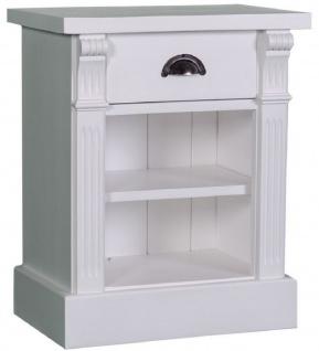 Casa Padrino Landhausstil Nachttisch mit Schublade und Regal Hellgrau 49 x 33 x H. 60 cm - Massivholz Nachtkommode - Nachtschrank - Landhausstil Schlafzimmermöbel