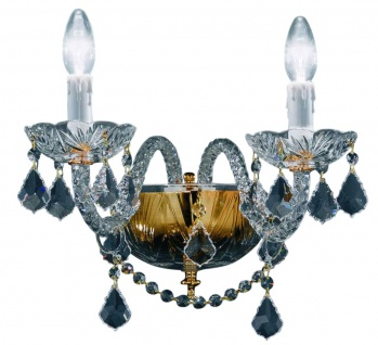 Casa Padrino Barockstil Kristall Wandleuchte Gold 35 x 32 x H. 26 cm - Barockmöbel & Accessoires