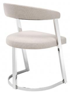 Casa Padrino Designer Stuhl mit Armlehnen Naturfarben / Silber 53, 5 x 49 x H. 78 cm - Esszimmerstuhl - Bürostuhl - Designermöbel - Vorschau 3