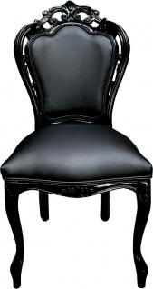 Casa Padrino Luxus Barock Esszimmer Stuhl Schwarz Lederoptik / Schwarz - Designer Stuhl - Luxus Qualität