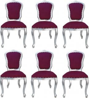 Casa Padrino Luxus Barock Esszimmer Set Louis Lila / Silber 50 x 60 x H. 104 cm - 6 handgefertigte Esszimmerstühle - Barock Esszimmermöbel - Made in Italy