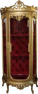 Casa Padrino Barock Vitrine Gold / Bordeaux H 205 cm, B 86 cm - Vitrinenschrank - Wohnzimmerschrank Glasvitrine - Antik Look