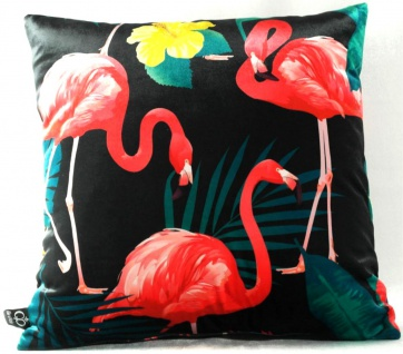Casa Padrino Luxus Kissen Malibu Flamingos Schwarz / Mehrfarbig 45 x 45 cm - Feinster Samtstoff - Deko Wohnzimmer Kissen