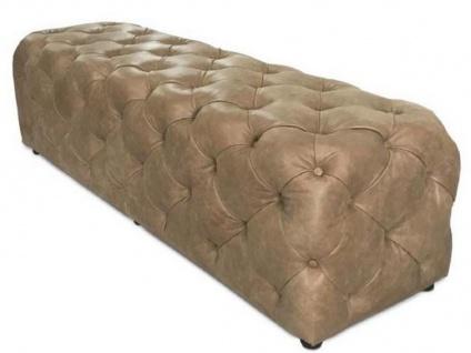 Casa Padrino Luxus Chesterfield Echtleder Sitzbank Braun 158 x 47 x H. 45 cm - Chesterfield Möbel