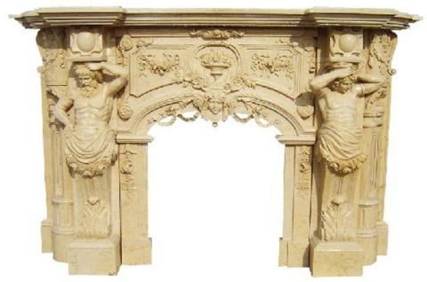 Casa Padrino Luxus Barock Kaminumrandung Beige 255 x 55 x H. 170 cm - Handgefertigte Kaminumrandung aus hochwertigem Marmor - Prunkvolle Barock Möbel