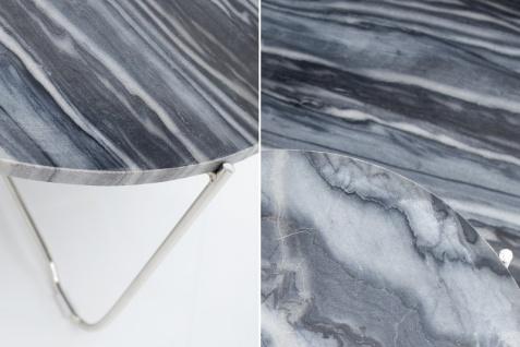 Casa Padrino Designer Beistelltisch mit Marmorplatte Ø 60 cm Grau / Silber H. 33 cm - Unikat - Vorschau 3
