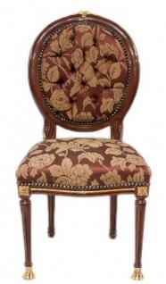 Casa Padrino Barock Esszimmerstuhl Dunkelbraun / Gold / Bordeauxrot mit Muster 50 x 45 x H. 100 cm - Barock Stuhl mit Löwenfüßen - Barock Esszimmer Möbel
