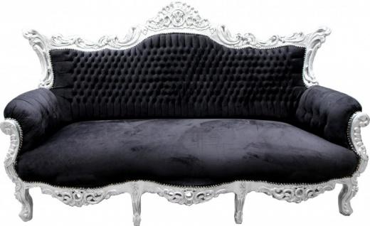 Casa Padrino Barock Sofa Master Schwarz / Silber - Möbel Couch Lounge