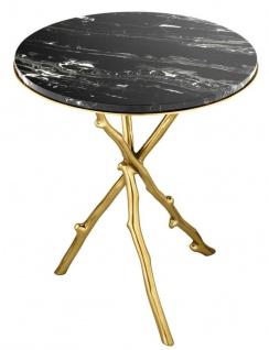 Casa Padrino Luxus Wohnzimmer Beistelltisch in gold mit schwarzer Marmorplatte 50 x H. 57 cm - Limited Edition - Vorschau 2