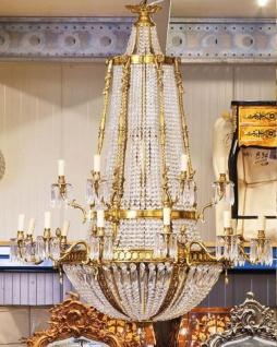 Casa Padrino Luxus Barock Kristall Kronleuchter Gold Ø 90 x H. 140 cm - Prunkvoller Kronleuchter im Barockstil - Barock Kristall Leuchten