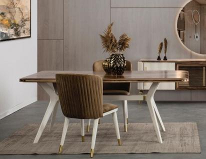 Casa Padrino Luxus Art Deco Esszimmer Set Braun / Weiß / Gold - 1 Esszimmertisch & 6 Esszimmerstühle - Art Deco Esszimmer Möbel