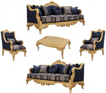 Casa Padrino Luxus Barock Wohnzimmer Set Dunkelblau / Gold - 2 Sofas & 2 Sessel & 1 Couchtisch - Prunkvolle Barock Wohnzimmer Möbel