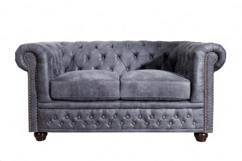 Chesterfield 2er Sofa Antikgrau aus dem Hause Casa Padrino - Wohnzimmer Möbel - Couch