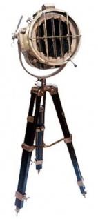 Casa Padrino Luxus Studioleuchte Antik Messingfarben / Braun 36 x 30 x H. 128-183 cm - Höhenverstellbare Dreibein Stehleuchte