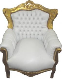 Casa Padrino Barock Kinder Sessel Weiß / Gold - Barock Kinder Möbel