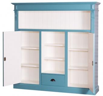 Casa Padrino Landhausstil Bücherschrank Blaugrün / Weiß 60 x 36 x H. 100 cm - Massivholz Schrank mit 2 Türen und Schublade - Wohnzimmerschrank - Landhausstil Möbel - Vorschau 2