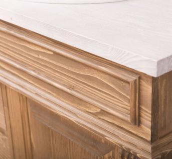 Casa Padrino Landhausstil Badezimmer Set Naturfarben / Weiß - 1 Waschtisch & 1 Wandspiegel - Massivholz Badezimmer Möbel im Landhausstil - Vorschau 3