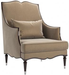 Casa Padrino Luxus Barock Wohnzimmer Sessel Khaki 80 x 75 x H. 110 cm - Edle Wohnzimmer Möbel im Barockstil