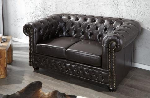 Casa Padrino Chesterfield Wohnzimmer Sofa 150 x 85 x H. 75 cm - Kunstleder 2er Couch - Chesterfield Möbel - Vorschau 2