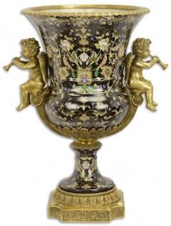 Casa Padrino Barock Porzellan Vase mit Blumen Design und dekorativen Engelsfiguren Schwarz / Mehrfarbig / Messingfarben 49 x 37, 5 x H. 61, 1 cm - Prunkvolle Blumenvase - Deko Vase im Barockstil