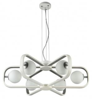 Casa Padrino Luxus Hängeleuchte Weiß / Silber Ø 65 x H. 20 cm - Luxus Kollektion