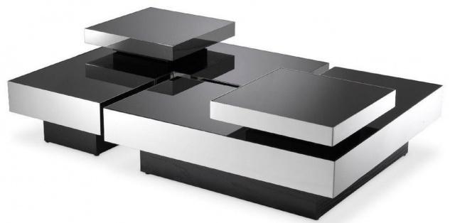 Casa Padrino Luxus Couchtisch Set Silber / Schwarz - 2 L-förmige Wohnzimmertische mit 2 quadratischen Tabletts - Wohnzimmer Möbel - Luxus Kollektion