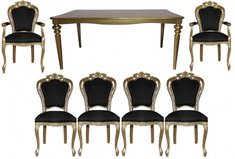 Casa Padrino Barock Luxus Esszimmerset Schwarz/Gold - Barock Esstisch + 6 Stühle - Luxus Qualität - Limited Edition