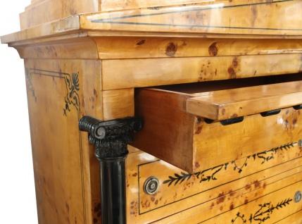 Casa Padrino Art Deco Schubladen Schrank Vogelaugenahorn - Handgefertigt - Biedermeier Möbel - Vorschau 3