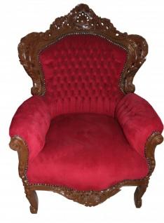 Casa Padrino Barock Sessel King Bordeaux / Braun 85 x 85 x H. 120 cm - Limited Edition