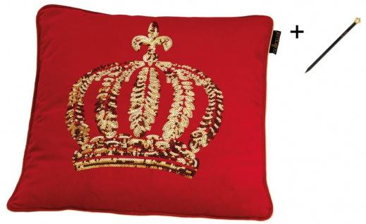 Harald Glööckler Designer Zierkissen 50 x 50 cm Krone mit Pailletten Rot / Gold + Casa Padrino Luxus Barock Bleistift mit Kronendesign