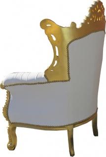 Casa Padrino Barock Sessel Al Capone Weiß / Gold mit Bling Bling Glitzersteinen - Antik Stil Wohnzimmer Möbel - Vorschau 4
