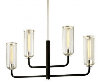 Casa Padrino Luxus Kronleuchter Schwarz / Silber 109, 2 x 12, 1 x H. 55, 9 cm - Kronleuchter mit Glas Lampenschirmen
