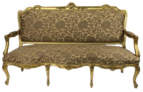 Casa Padrino Barock Wohnzimmer Set Strassbourg Gold Muster / Antik Stil Gold - Sofa + 2 Sessel - Vorschau 3