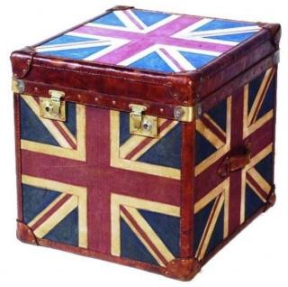 Casa Padrino Luxus Truhe Mehrfarbig 60 x 60 x H. 60 cm - Handgefertigte Echtleder Truhe mit Union Jack Design - Vorschau