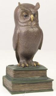 Casa Padrino Luxus Bronzefigur die weise Eule Mehrfarbig 11 x 9, 5 x H. 22, 5 cm - Dekofigur