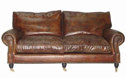 Casa Padrino Luxus Echt Leder Sofa Vintage Leder 3 Sitzer - Art Deco
