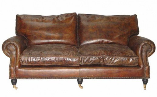 Casa Padrino Luxus Echt Leder Sofa Vintage Leder 3 Sitzer Cigar Braun Art Deco