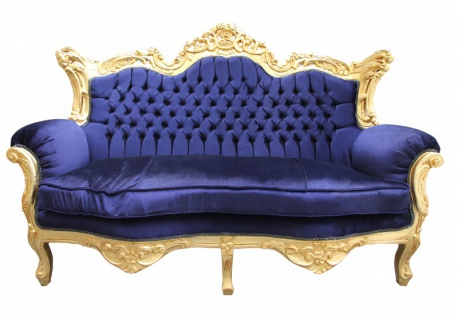 Casa Padrino Barock 2er Sofa Master Royal Blau/ Gold 2Mod - Wohnzimmer Couch Möbel Lounge
