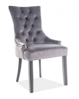 Casa Padrino Luxus Chesterfield Esszimmer Stuhl Grau / Silber / Schwarz - Küchenstuhl mit Samtstoff - Esszimmer Möbel - Vorschau 1