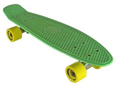 Oldschool Skateboard Plastic Cruiser 70s Style Green / Yellow Plastik Skateboard - Vinyl Skateboard Cruiser Longboard