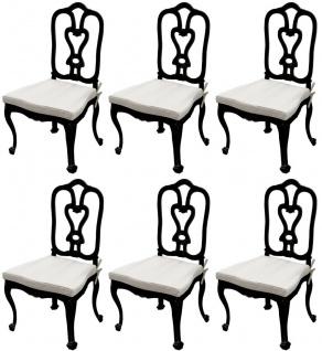 Casa Padrino Luxus Jugendstil Gartenstuhl Set mit Sitzkissen Schwarz / Hellgrau 56 x 59 x H. 100 cm - Handgeschmiedete Esszimmer Stühle - Esszimmer Garten Terrassen Möbel