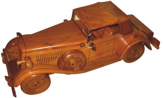 Casa Padrino Deko Oldtimer Auto Braun 35 x 14 x H. 13 cm - Handgefertigtes Holz Auto - Wohnzimmer Deko - Schreibtisch Deko - Deko Accessoires