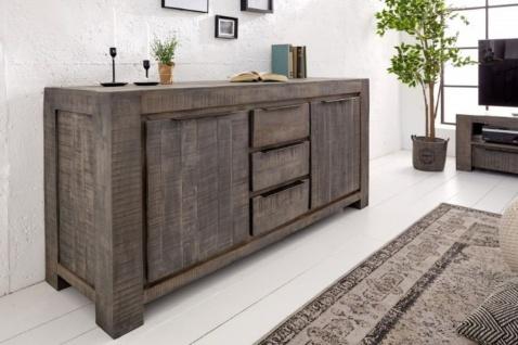 Casa Padrino Landhausstil Sideboard Grau 175 x 50 x H. 76 cm - Massivholz Schrank mit 2 Türen und 3 Schubladen - Wohnzimmer Möbel - Vorschau 4